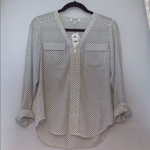 NWT Express XS polka dot Zipper Blouse